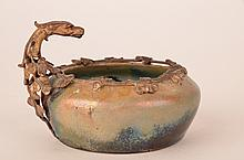 Clement Massier iridescent bowl with Dragon handle