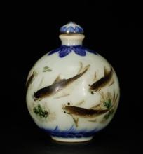 Chinese Porcelain Snuff Bottle w/ Fish & Lotus