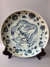 Chinese Blue/White Dragon Floral Porcelain Charger