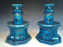 Chinese Green Glazed Blue/White Candle Holders