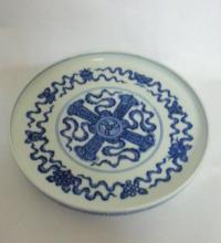 Chinese Blue/White Porcelain Plate, Marked