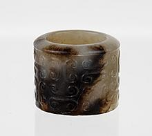18/19th C. CH White/Black Jade Carved Thumb Ring