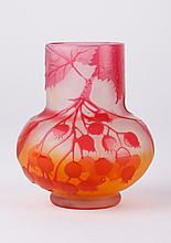 Three Color Berry Signed Glass Vase