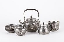 Japanese Pewter Tea Set, 9 Pieces