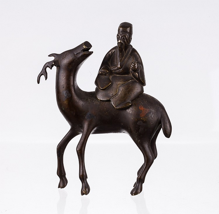 18/19th C. Chinese Bronze Figure of Deer &Lao Shou