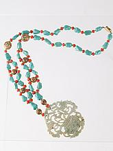 Chinese Coral & Turquoise Necklace w/ Jade Pendant