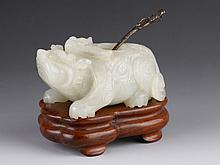16th C. Chinese Jade Carved Brush Wash w/ Base