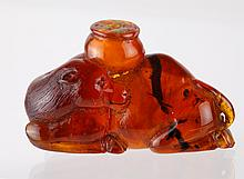 19th C. Chinese Amber Carved Camel Snuff Bottle