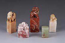 5 Pieces Chinese 19th C. Soapstone Seals