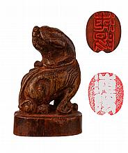 19th C. Chinese Bamboo Carved Seal w/ Lion Knob