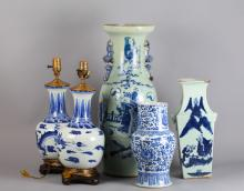 5 Piece Chinese Blue/White Vases