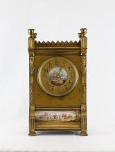 19th C. French Bronze w/ Enamel Clock Painting