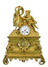 19th C. French Dore Bronze Console Clock