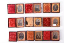 9 Ambrotypes- Portraits of Men, Women, Children