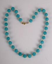 Carved Turquoise Beads Necklace w/ 14K