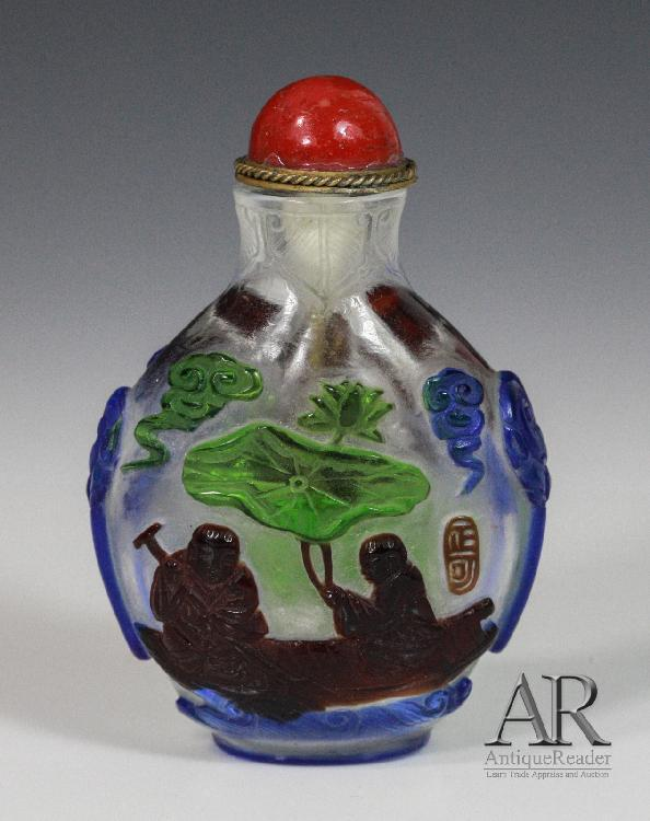 19th Chinese Glass Snuff Bottle Overlay Five Colors