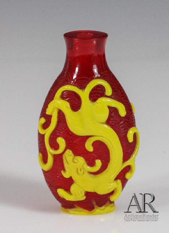 Red Ground Overlay Yellow Dragon Snuff Bottle