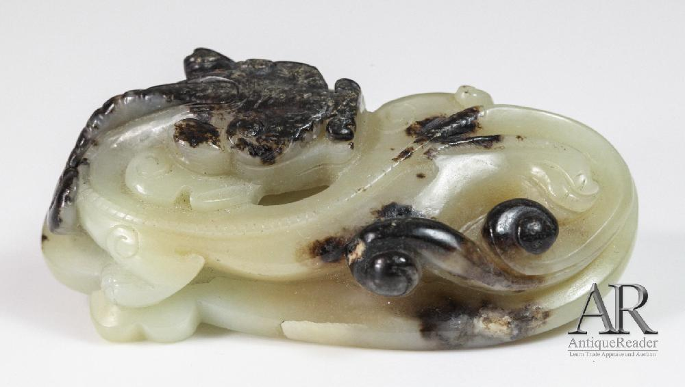 Chinese Jade Carved Dragon with Black Skin