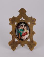 Hand-Painted Miniature Porcelain Plaque of Maiden