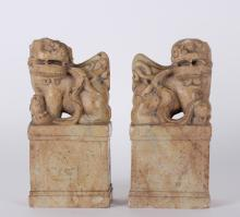 Pair of Soapstone Chinese Foo Dog Seals