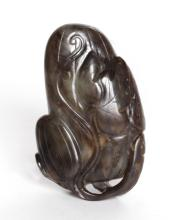 19th C. Chinese Black Jade Carving of Fruit