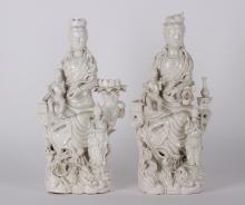 A pair of Chinese Porcelain Blanc De Guan Yin