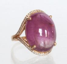A Large Size Pink Tourmaline Olive Shape Ring