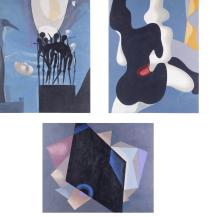 3 Pieces Contemporary Abstract Paintings