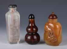19th C. Group of Three Chinese Snuff Bottle