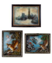 3 Pieces of CH Glass Painting and Oil Painting