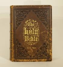 19th C. Holy Bible in Leather