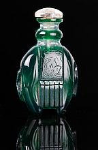 Qing Dynasty Green Overlay White Snuff Bottle