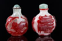 2 Qing Dynasty Red Overlay Snow White Snuff Bottle