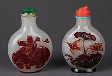 Two Chinese Overlay Snow White Snuff Bottles