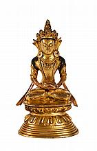 Sino-Tibetan Gilt Bronze Seating Buddha