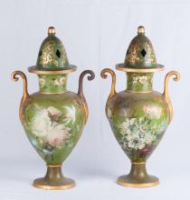 19th C. Pair of Terracotta Vases with Iron Tops