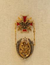 Russian Gold Enamel Medal w/ Opal & Diamonds