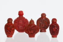 5 Pieces of Chinese Cinnabar Snuff Bottle