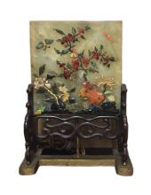 Chinese Jade Table Screen Inlaid Agate&Jade&Coral