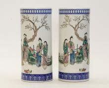 Pair of Chinese Republic Period Porcelain BrushPot
