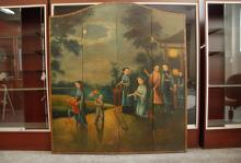 Chinese Export Oil Painting w/ Figure Motif