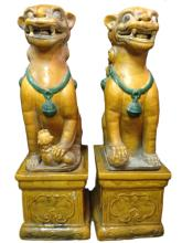 Pair of 19th C. Chinese Porcelain Lions