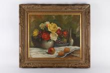 20th C. Chinese Oil on Canvas Still Life Painting