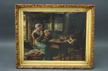 Framed O/C Interior Scene Mother Feeding 2 Childre
