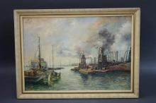 Framed German O/B Harbor Scene