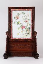 Late 19th C. Chinese Famille Rose Table Screen