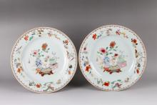 Pair of 18th C. Export Famille Rose Plates