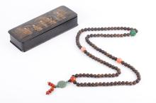 Chinese Chen Xiang Wood Beads Pray Necklace