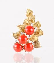 Red Coral w/ 18K Brooch