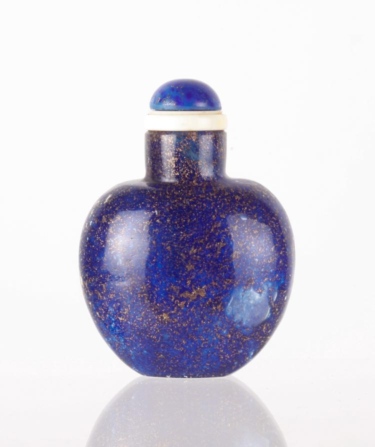 18th C. Chinese Glass Imitating Lapis Snuff Bottle